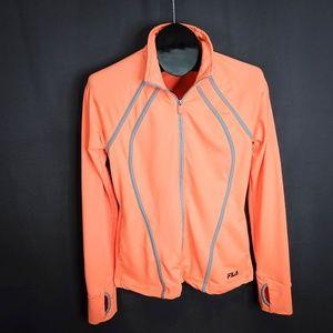 Fila Sport Jacket Size Medium Orange Gray Women